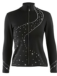 cheap -Figure Skating Fleece Jacket Women's Girls' Ice Skating Jacket Tracksuit Black Stretchy Practise Skating Wear Dots Long Sleeves Ice