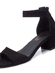 preiswerte -Damen Schuhe Kaschmir Frühling Komfort Sandalen Blockabsatz Offene Spitze für Schwarz Armeegrün