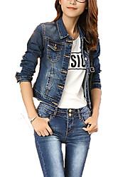 cheap -Women's Denim Jacket - Solid Shirt Collar