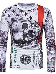 cheap -Men's Vintage Wool Cotton Linen T-shirt - Solid Round Neck