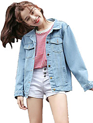 cheap -Women's Street chic Denim Jacket-Letter Shirt Collar