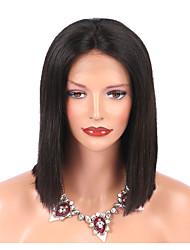 Недорогие -Не подвергавшиеся окрашиванию Лента спереди Парик Бразильские волосы Парик Стрижка боб 130% Природные волосы Жен. Короткие Парики из натуральных волос на кружевной основе