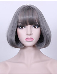 cheap -Synthetic Hair Wigs Curly Natural Hairline Layered Haircut Bob Haircut Celebrity Wig Natural Wigs Cosplay Wig 13cm(Approx5inch) Grey