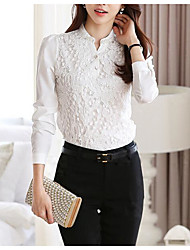 cheap -Women's Going out Street chic Blouse V Neck Long Sleeves Polyester