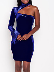 cheap -Women's Plus Size Party / Club Street chic Velvet Skinny Bodycon Dress - Solid Color Blue, Cut Out Mini Crew Neck / Spring / Fall