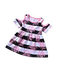 cheap -Girl's Daily Holiday Striped Print Color Block Dress, Cotton Spring Summer Short Sleeves Simple Cute Blushing Pink
