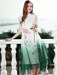 Недорогие -Жен. Шинуазери (китайский стиль) Свободный силуэт Платье - Контрастных цветов, Классический Воротник-стойка