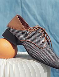 Недорогие -Жен. Обувь Ткань Весна Удобная обувь Туфли на шнуровке На толстом каблуке Заостренный носок для Повседневные Серый