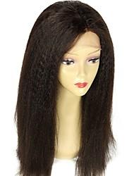 abordables -Non Traités Cheveux Vierges Cheveux humains Dentelle frontale Perruque Cheveux Brésiliens Droit Droit Yaki Avec Mèches Avant 130% Densité