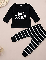 cheap -Baby Unisex Daily Sports Striped Print Clothing Set,Cotton Spring Fall Simple Cute Long Sleeves Black