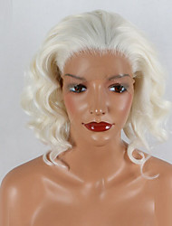 abordables -Peluca Lace Front Sintéticas Ondulado Natural Pelo sintético Peluca afroamericana Blanco Peluca 20 a 40 pulg Encaje Frontal