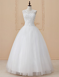 cheap -Ball Gown Scoop Neck Floor Length Tulle Wedding Dress with Beading Appliques by LAN TING BRIDE®
