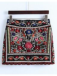 cheap -Women's Daily / Holiday Vintage Cotton Bodycon Skirts - Embroidered