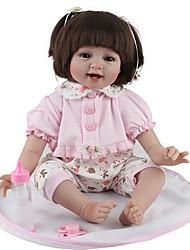 billige -NPK DOLL Reborn-dukker Baby 22 inch Silikone / Vinyl - livagtige, Hånd Anvendte Øjenvipper, Tippede og forseglede negle Børne Pige Gave / CE / Naturlig hudfarve / Floppy Head