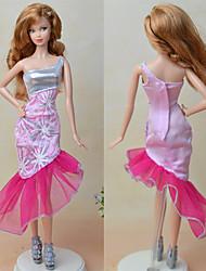 abordables -Robes Une pièce Pour Poupée Barbie Rose Pale Textile Satin Elastique Robe Pour Fille de Jouets DIY