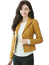 cheap -Women's Work Leather Jacket - Solid Colored Shirt Collar