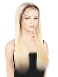 cheap -Remy Human Hair Full Lace Wig Straight 150% Density 100% Hand Tied African American Wig Natural Hairline Ombre Hair Medium Long Women's