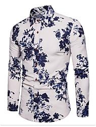 cheap -Men's Daily Simple Spring Shirt Shirt Collar Long Sleeves Linen