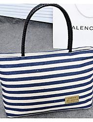 cheap -Women's Bags Canvas Shoulder Bag Zipper for Casual Spring Fall Blue Black/White