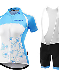 cheap -Malciklo Women's Short Sleeves Cycling Jersey with Bib Shorts - Light Blue Blue/Black British Bike Padded Shorts/Chamois Bib Tights
