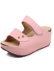 cheap -Women's Shoes Microfibre Summer Slingback Slippers & Flip-Flops Creepers Open Toe Buckle for Beige Pink