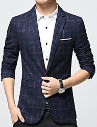 cheap -Men's Business Plus Size Blazer - Plaid
