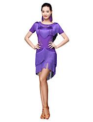 abordables -Danse latine Robes Femme Entraînement Fibre de Lait Dentelle Manches 3/4 Taille moyenne Robe Short