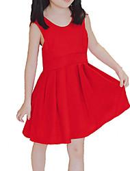 abordables -Robe Fille de Quotidien Vacances Couleur Pleine Coton Polyester Eté Sans Manches simple Décontracté Rouge