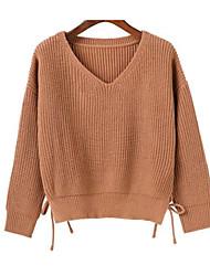 preiswerte -Damen Langarm Pullover-Volltonfarbe,Druck V-Ausschnitt