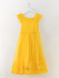 cheap -Girl's Daily Going out Solid Dress, Polyester Spring Summer Sleeveless Simple Active Yellow