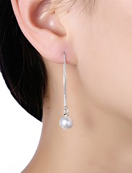 cheap -Women's Imitation Pearl / S925 Sterling Silver Drop Earrings - Formal / Basic White Circle Earrings For Daily / Office & Career