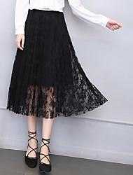 cheap -Women's Daily / Going out Plus Size A Line Skirts - Floral Lace / Pleated / Tulle High Waist