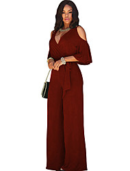 cheap -Women's Casual Street chic Jumpsuit - Solid Colored, Cut Out Basic