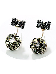 cheap -Women's Bowknot Rhinestone Stud Earrings - Fashion Sweet Korean Bowknot Ball For Party