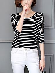 preiswerte -Damen Street Schick T-shirt - Gestreift, Spitze Rundhalsausschnitt