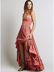 cheap -Women's Vintage Cotton Trumpet / Mermaid Dress - Solid Colored, Basic High Waist Maxi Strap