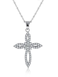 cheap -Women's Cross Shape Fashion Pendant Necklace Cubic Zirconia S925 Sterling Silver Pendant Necklace Gift Daily Costume Jewelry
