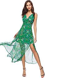 cheap -Women's Beach Boho Slim Chiffon Swing Dress - Floral, Split Print High Waist Maxi Strap