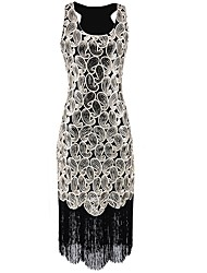 abordables -Gatsby le magnifique Gatsby Années 20 Costume Femme Robes Blanc Noir Vintage Cosplay Polyester Sans Manches