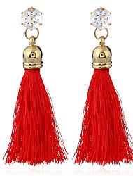 baratos -Mulheres Franjas Brincos Compridos Brincos dangle - Borla, Vintage, Étnico Vermelho / Verde / Rosa claro Para Casamento Festa