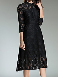 cheap -Women's Going out Sophisticated Flare Sleeve Slim A Line / Skater Dress - Solid Colored Lace High Waist Crew Neck
