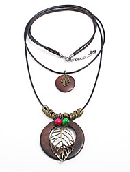 cheap -Women's Bohemian Leaf Layered Necklace  -  Bohemian Natural Gothic Brown Necklace For Party / Evening Date