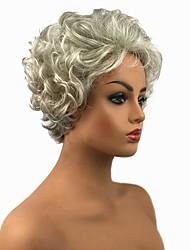 billiga -Syntetiska peruker Dam Lockigt Vit Pixie-frisyr Syntetiskt hår Vit Peruk Korta Utan lock Grå StrongBeauty