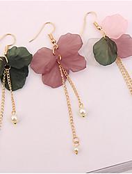 baratos -Mulheres Floral Flor Imitação de Pérola Brincos Compridos - Floral / Fashion / Europeu Rosa claro / Roxo Escuro / Verde Escuro Brincos