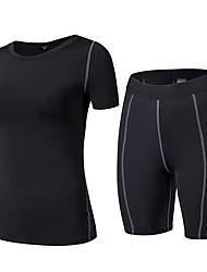 preiswerte -Damen Active Set Kurzarm Atmungsaktivität Kleidungs-Sets für Fitness Polyester Weiß Schwarz Blau Rot/Weiß Grau S M L XL XXL