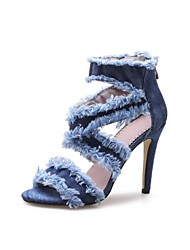 cheap -Women's Shoes Cowsuede Leather Spring Summer Novelty Sandals Chunky Heel Open Toe for Party & Evening Blue