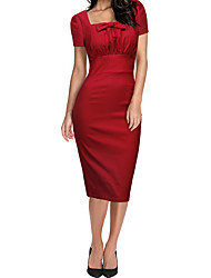 cheap -Women's Slim Sheath Dress - Solid Colored, Bow High Waist Square Neck