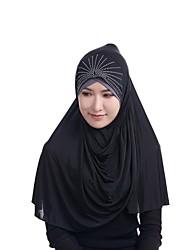 Недорогие -Жен. Для вечеринки Хиджаб - Бусины Искусственный шёлк, Однотонный
