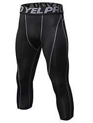 cheap -Men's 1pc Running 3/4 Capri Pants - Black / Silver, Black / Red, Black / Green Sports 3/4 Tights Fitness, Gym, Workout Activewear Lightweight, Quick Dry, Anatomic Design Stretchy