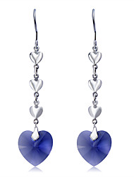 abordables -Mujer Cristal Pendientes colgantes - Cristal, Plateado Corazón Moda, Elegante Azul Para Fiesta / Noche / Formal